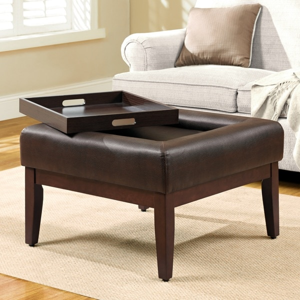 Square Espresso Cocktail Ottoman with Removable Tray