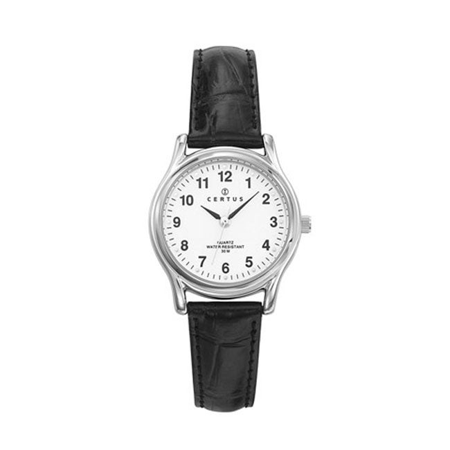 Certus Paris Men's Brass Black Leather Strap Watch