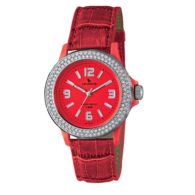 Laurens Italian Design Women's Red Leather Crystal Watch