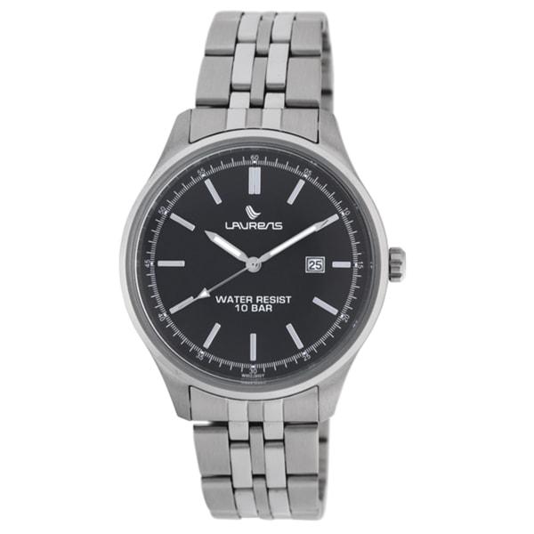 Laurens Men's Stainless Steel Black Dial Watch