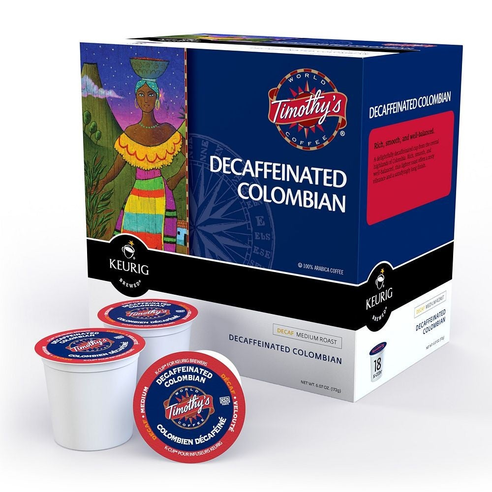 Timothy's World Coffee, Colombian Decaffeinated K-Cups for Keurig Brewers (Pack of 96)