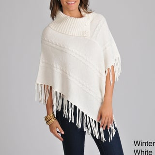 Focus 2000 Women's Fringe Hem Sweater Poncho