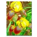 Kathie McCurdy 'Iris Yellow Batik' Canvas Art