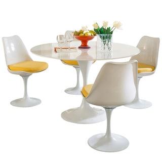 Eero Saarinen Dining Table Set with Yellow Cushions