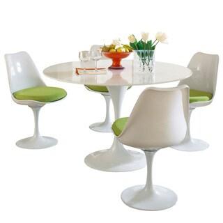 Eero Saarinen Green Cushions Table and Chair Set