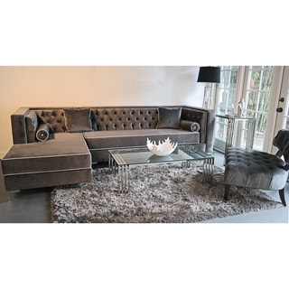 Decenni Custom Furniture 'Tobias' Grey Velvet Tufted 9.5-foot Sectional Sofa