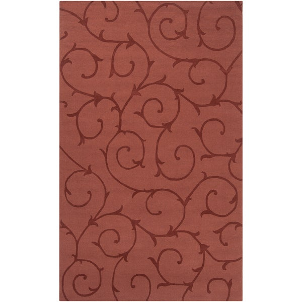 Hand-crafted Red Solid Bristol Wool Rug (2' x 3')