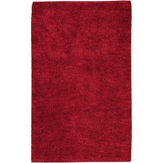 Hand-woven Montez Red Wool Rug (4' x 10')