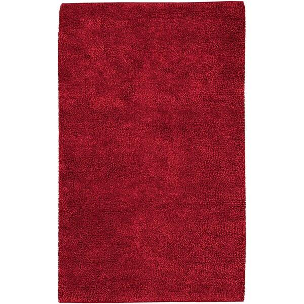 Hand-woven Montez Red Wool Rug (4' x 10')