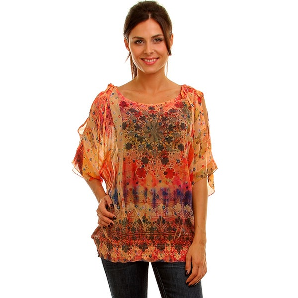Lyssa Loo Women's Plus Orange Printed Chiffon Top