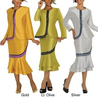 Divine Apparel Leatherette Rhinestone Trim Womens Skirt Suit