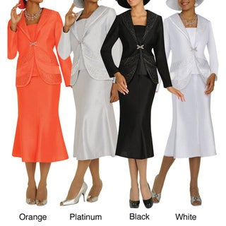 Divine Apparel Shawl Collar Panel Womens Skirt Suit