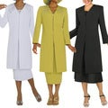 Divine Apparel Embroidered Duster &amp; Dress Plus Suit