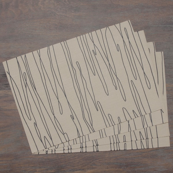 Taupe Modern Scribbles Woven Placemat (Set of 4)