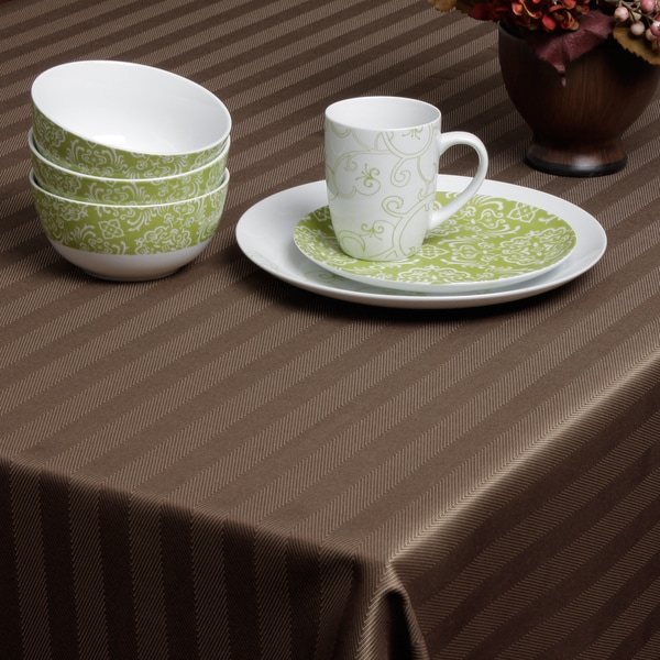 Carlton Chocolate Herringbone Tablecloth
