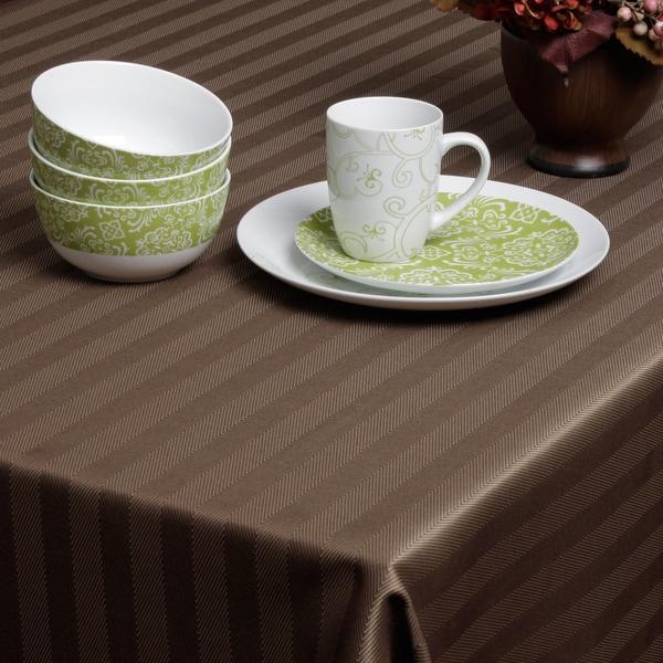 Carlton Chocolate Herringbone Tablecloth