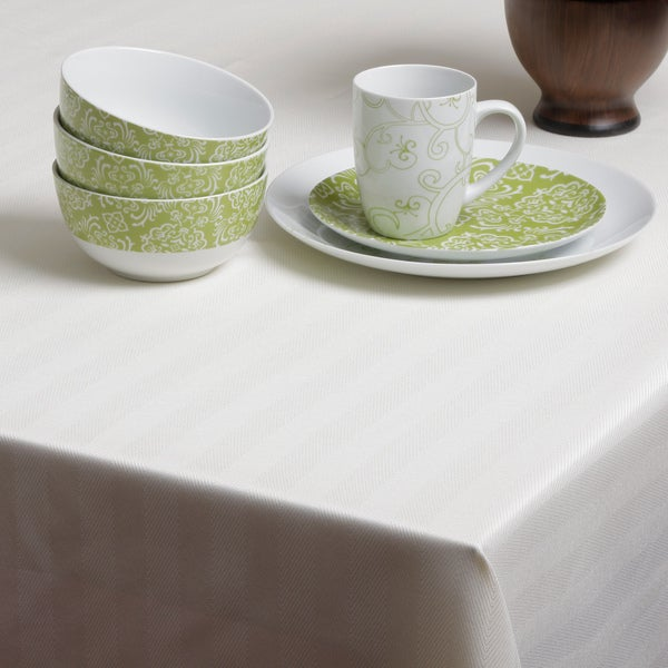 Carlton Ivory Herringbone Spill-proof Tablecloth
