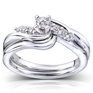 Annello  14k White Gold 1/5ct TDW Diamond Bridal Ring Set (G-H, I1-I2)