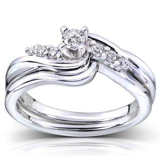 Annello  14k White Gold 1/5ct TDW Diamond Bridal Ring Set (G-H, I1-I2)