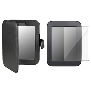BasAcc Black Leather Case/ Screen Protector for Nook 2 Simple Touch