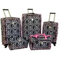 Jenni Chan Damask Black / Pink 5-piece Spinner Luggage Set