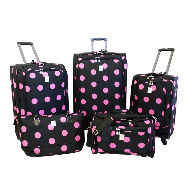 Jenni Chan Dots Black / Pink 5-piece Spinner Luggage Set