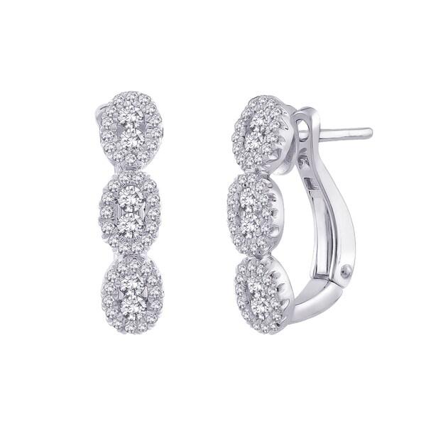 10k White Gold 5/8ct TDW Diamond Hoop Earrings (G-H, I2-I3)