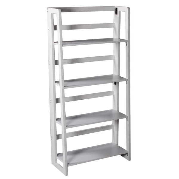 White Finish 4-tier Ladder Bookcase Display Shelf
