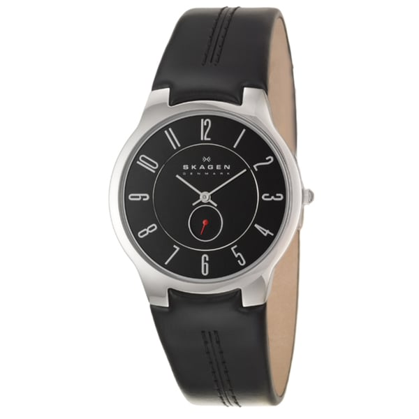 Skagen Men's 'Leather' Stainless Steel and Leather Quartz Watch