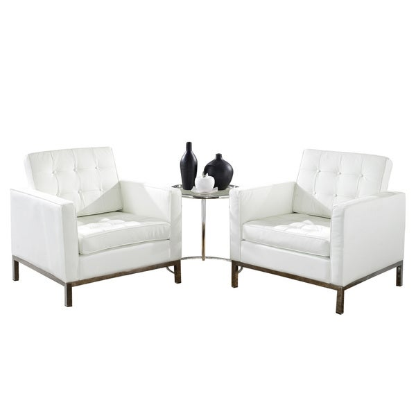 Florence Style Leather Armchairs and Eileen Gray Side Table Set in White