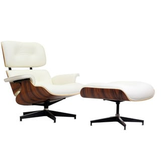 Eaze White Leather/ Palisander Wood Lounge Chair