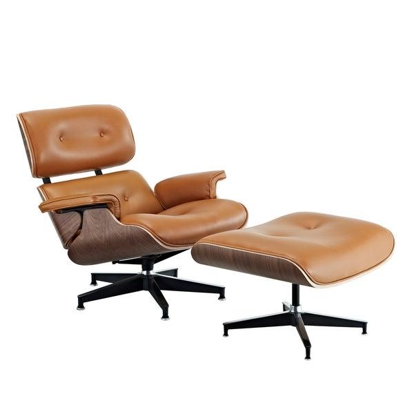 Eaze Terracotta Leather/ Dark Walnut Lounge Chair