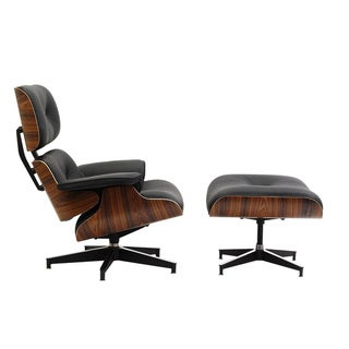 Eaze Black Leather/ Palisander Wood Lounge Chair