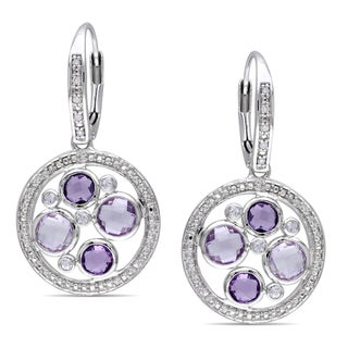 Miadora Sterling Silver Multi-gemstone and Diamond Accent Earrings