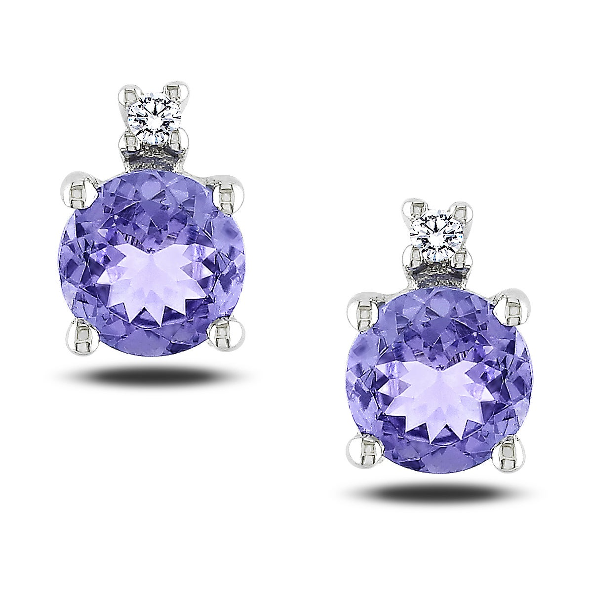 Miadora 10k White Gold Tanzanite and Diamond Earrings