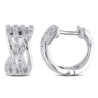 Miadora 14k White Gold 1/6ct TDW Diamond Hoop Earrings (H-I, I2-I3)