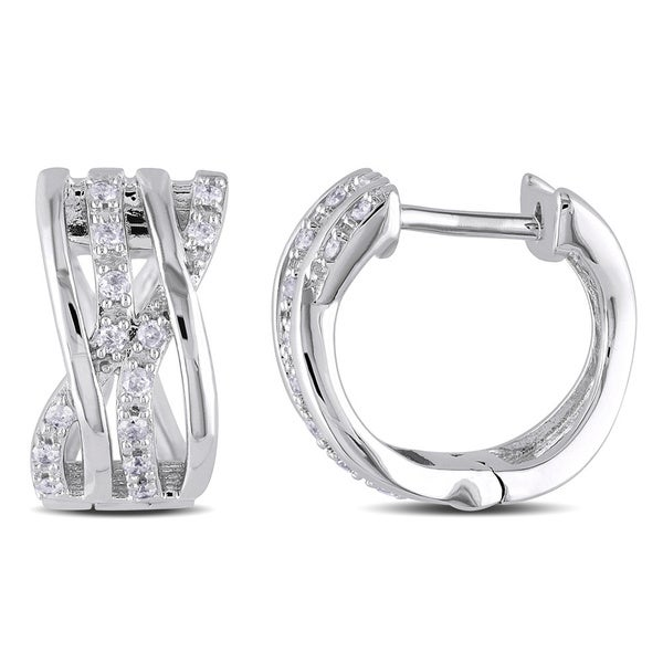 Miadora 14k White Gold 1/6ct TDW Diamond Hoop Earrings (H-I, I2-I3)