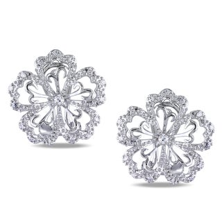 Miadora 14k White Gold 1/6ct TDW Diamond Flower Earrings (H-I, I2-I3)