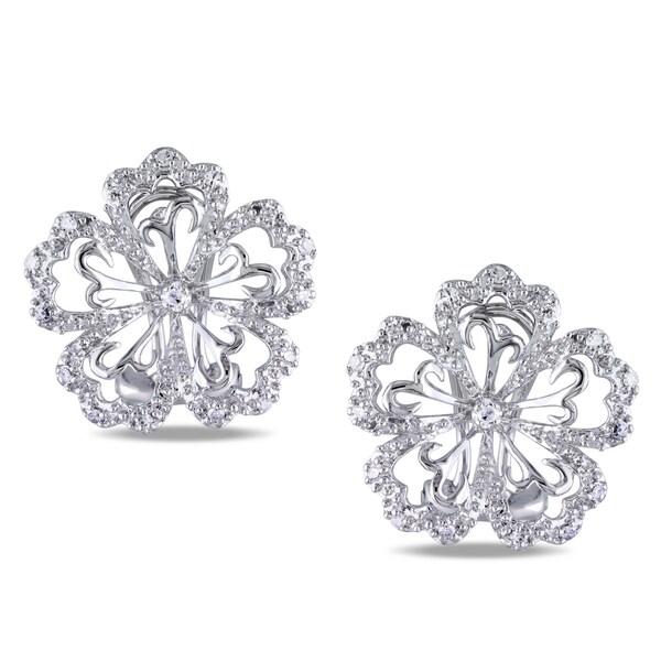 Miadora 14k White Gold 1/6ct TDW Diamond Flower Earrings (H-I, I2-I3)