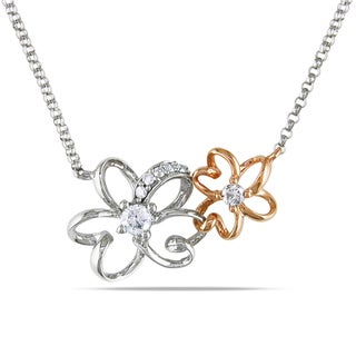 Miadora 14k Two-tone Gold 1/6ct TDW Diamond Flower Necklace (G-H, I1-I2)