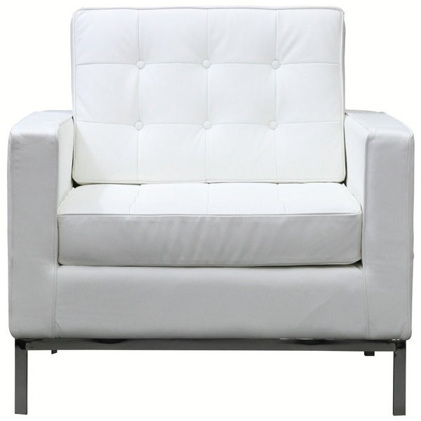 Florence White Genuine Leather Armchair