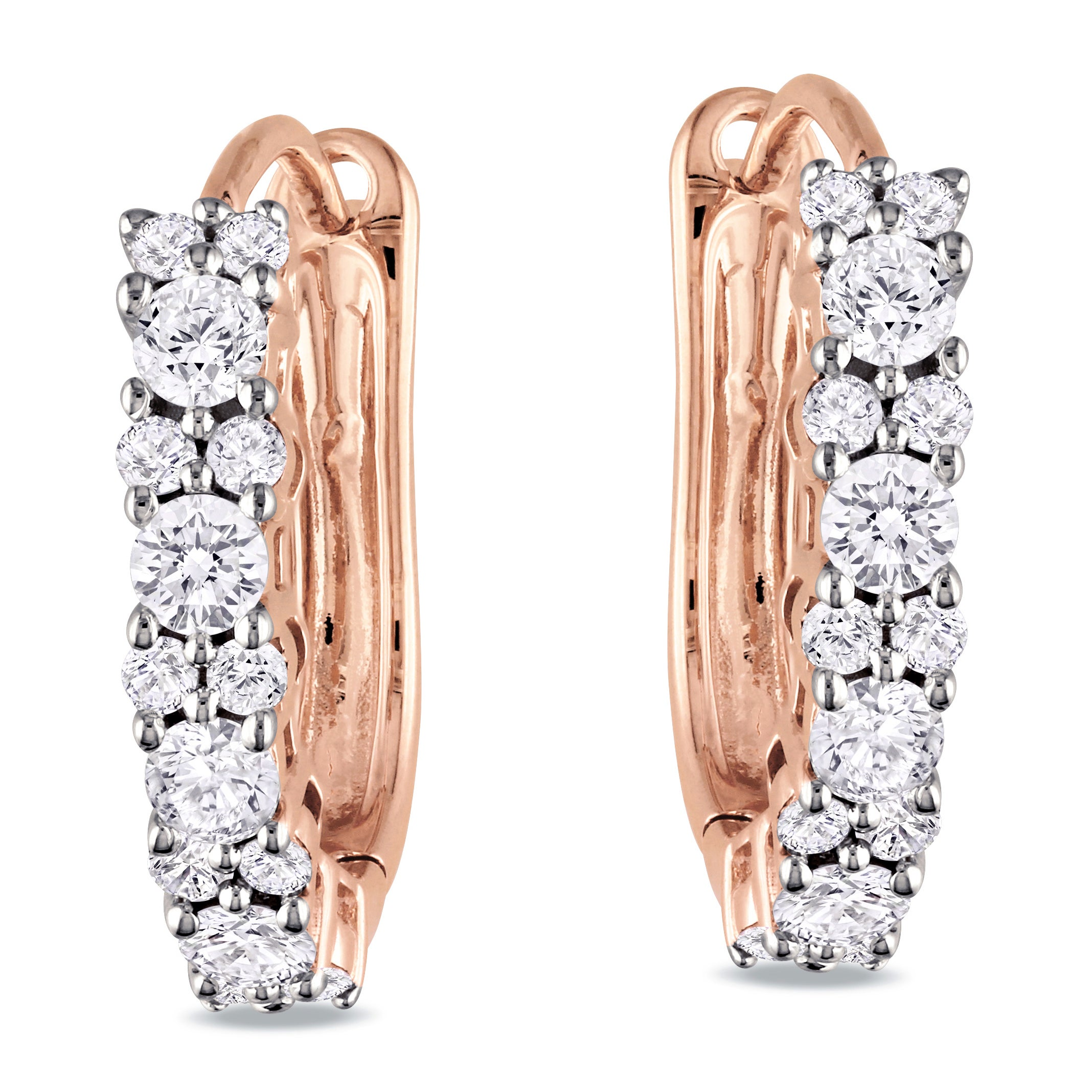Miadora 14k Pink Gold 1/2ct TDW Diamond Cuff Earrings (G-H, I1-I2)
