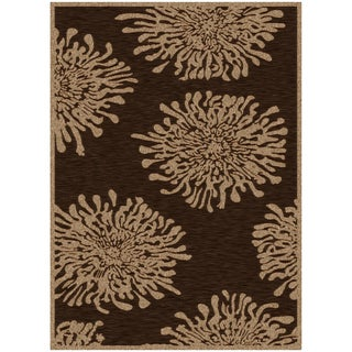 Paint Chocolate Viscose/Chenille Floral Rug (2'2 x 3')