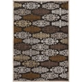 Barb Chocolate Viscose/Chenille Damask Print Rug (2'2 x 3')