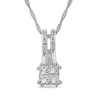 Miadora 10k White Gold 1/5ct TDW Diamond Necklace (G-H, I1-I2)