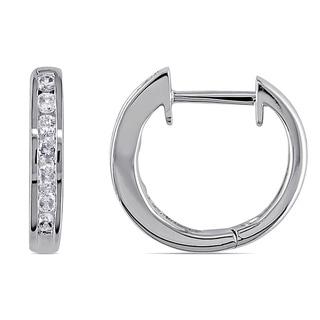 Miadora 10k White Gold 1/4ct TDW Diamond Hoop Earrings (H-I, I2-I3) with Bonus Earrings