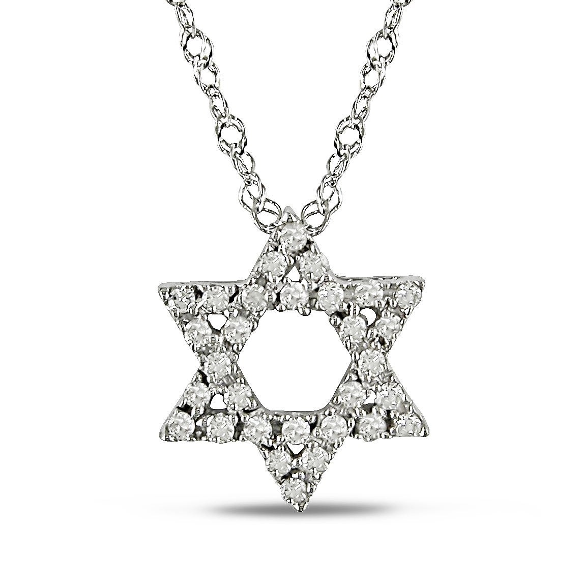 Haylee Jewels 14k White Gold 1/8ct TDW Diamond Star Necklace (H-I, I2-I3)