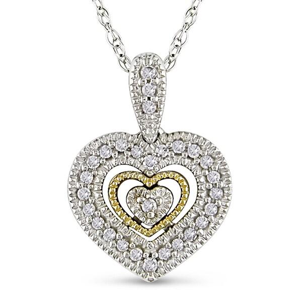 10k Two-tone Gold 1/10ct TDW Diamond Heart Necklace (H-I, I2-I3)