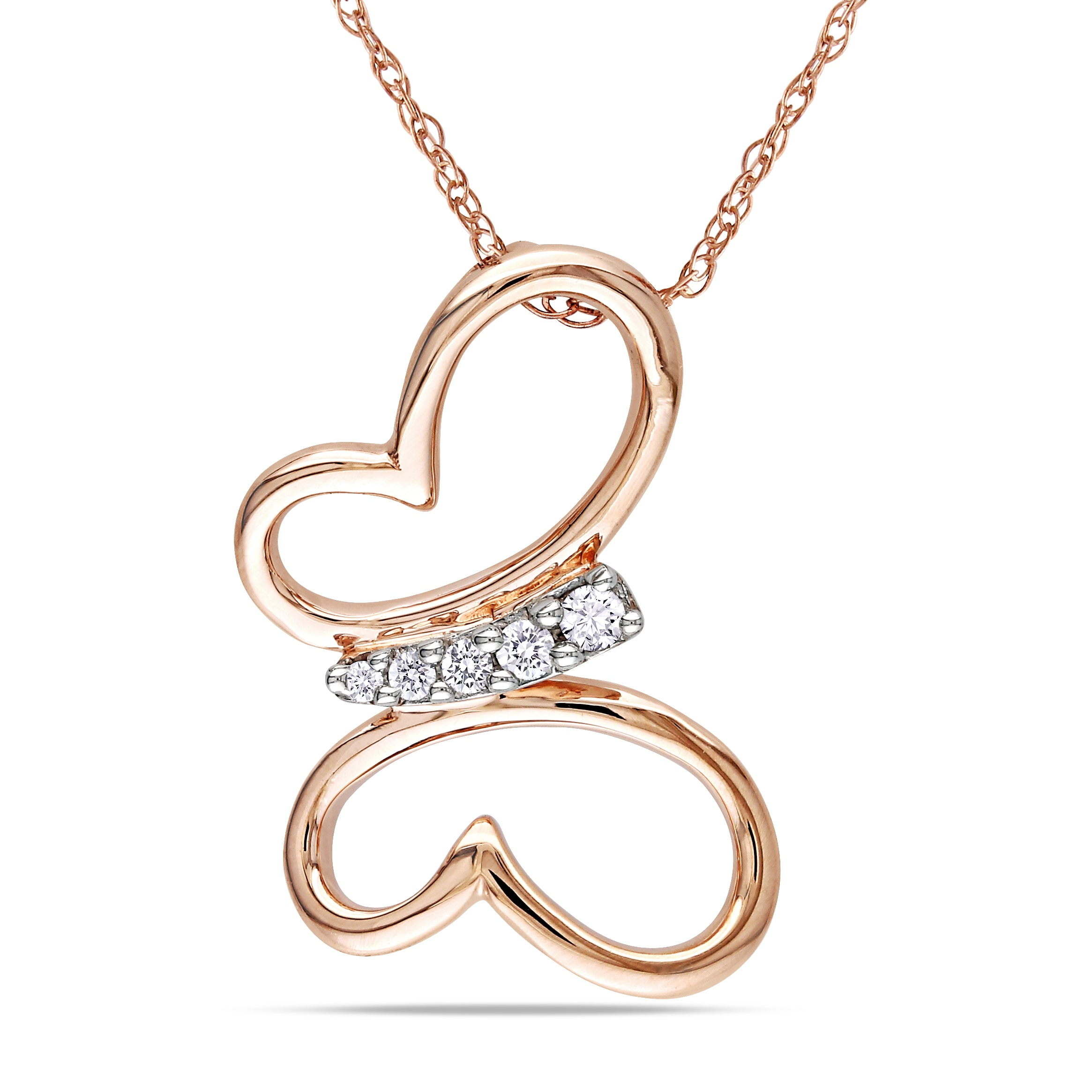 Miadora 10k Pink Gold Diamond Butterfly Necklace (H-I, I2-I3)