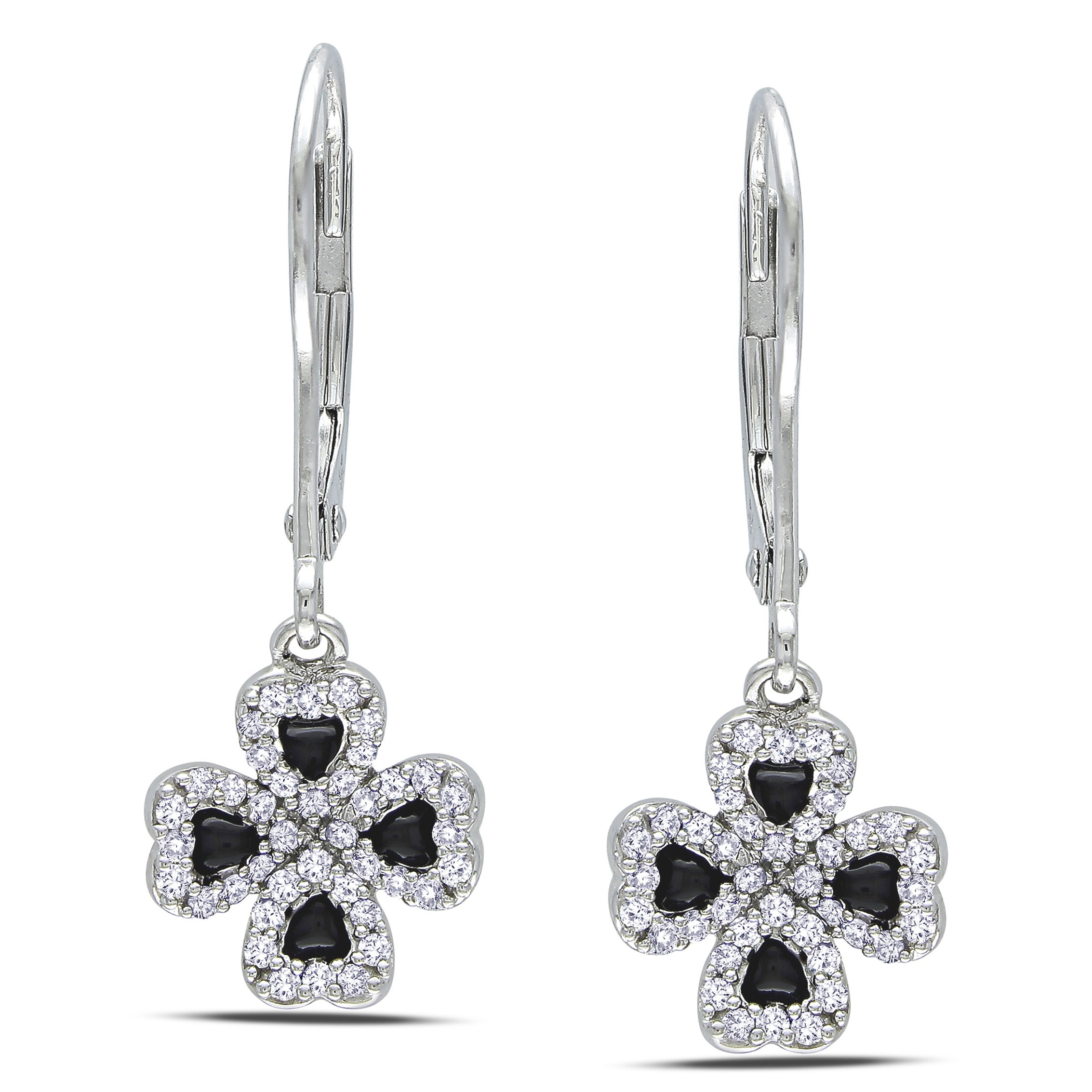 Miadora 14k Gold 1/4ct Black Enamel Four Leaf Clover Diamond Earrings